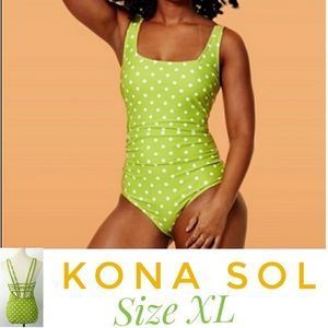 Kona sol polka dot pinup strappy bathing suit xl